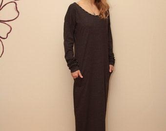 Dark Gray Dress / Maxi Dress / Long sleeved Dress
