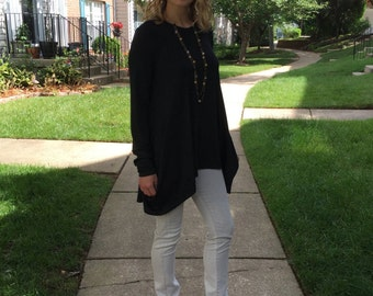 Blouse / Blouse-top / Dark Grey Blouse / Long sleeve Blouse