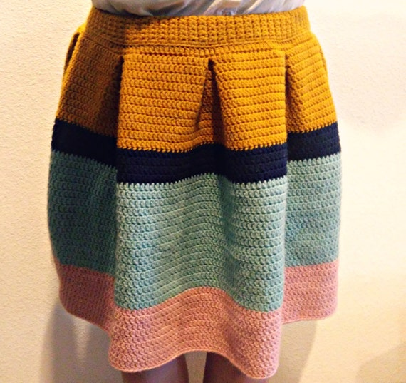 Pleated crochet color block skirt -- made to order
