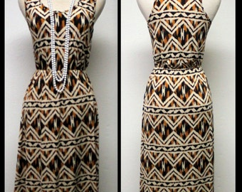 Regular Size High - Low Pattern , Sleeveless Multi-Color Printed Dress in S , M , L
