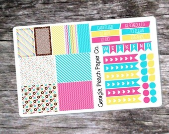 Donut Shoppe Themed Planner Stickers - Made to fit Vertical Layout