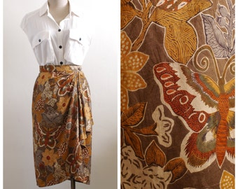Vintage brown floral butterfly print wrap pencil skirt