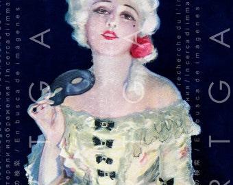 Marie Antoinette Flapper Fashion Art Deco Masquerade Illustration Rare Fab Digital Flapper Download Flapper Disguise Party