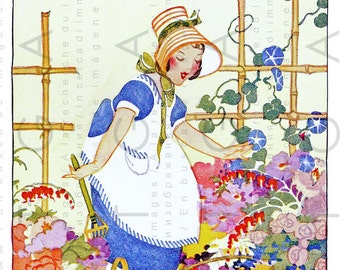 Little Girl Works In The GARDEN ART DECO Print Digital Gardening Download Vintage Garden Illustration Janet Laura Scott
