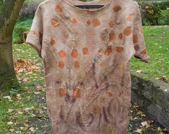 Handmade felted brown-orange blouse, eco print, eco dyeing