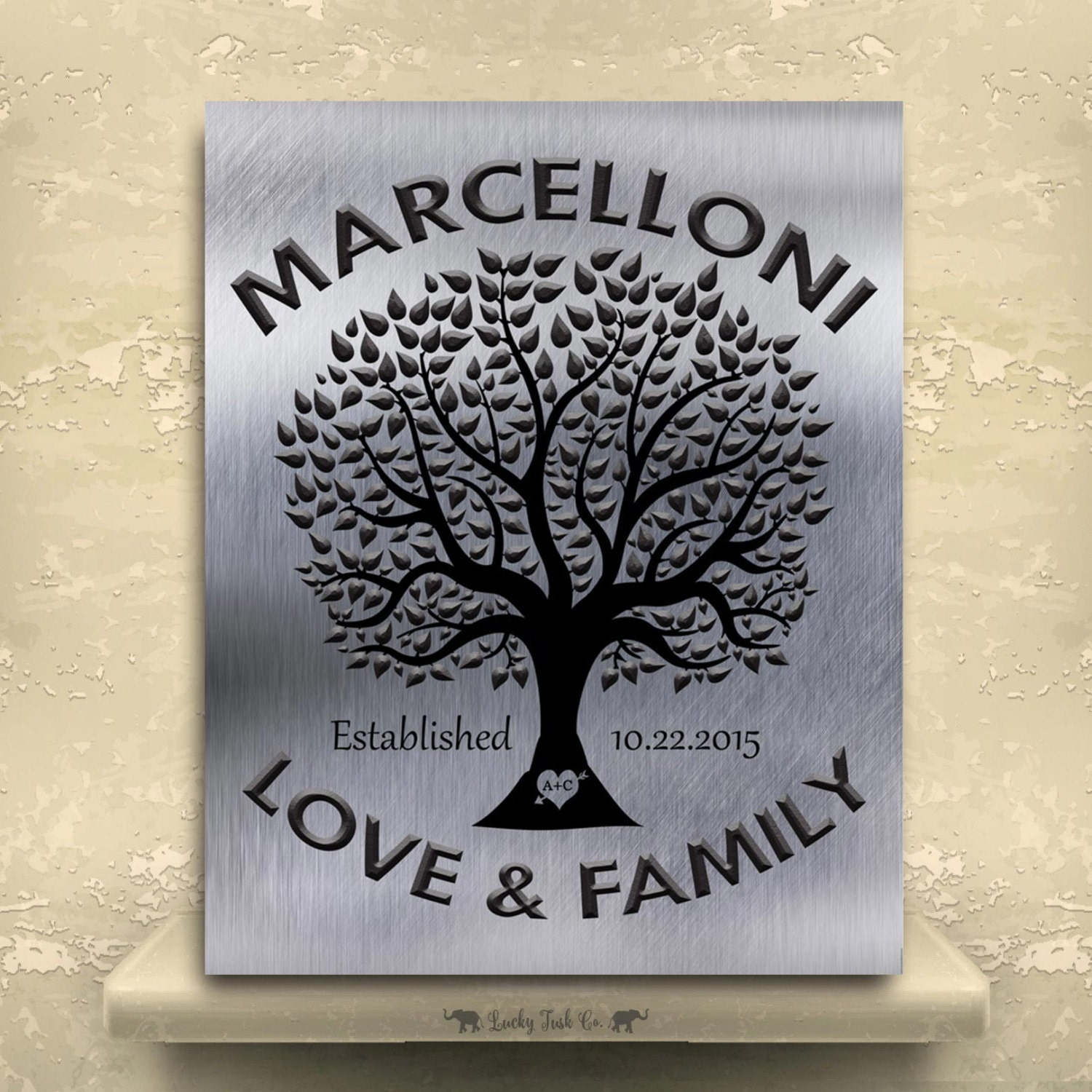 Family Tree Tin Anniversary Gift Personalized Keepsake Faux