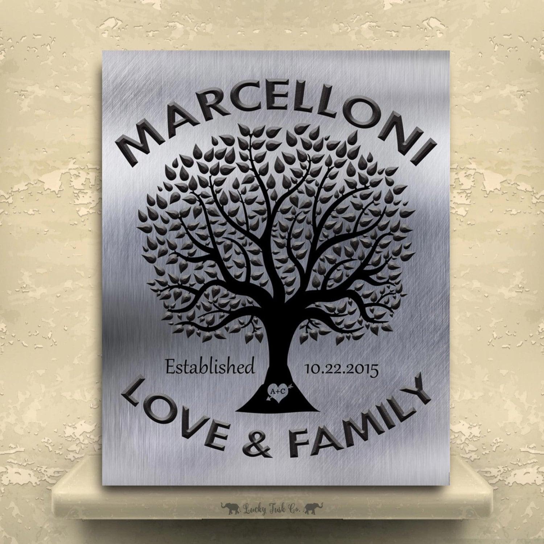 Family Tree Tin Anniversary Gift Personalized Keepsake Faux
