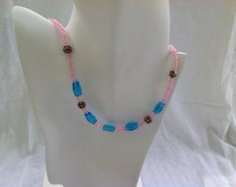 "Turquiose beaded necklace, princess necklace, beaded necklace, Turquiose and gold necklace. Golden Flowers - 18"" necklace. Item #4-00005"