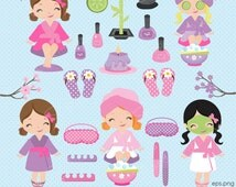 Spa clipart, Spa girls clipart, Manicure clipart, Cute Spa Girls clipart, spa, manicure, pamper party, Commercial License Inclu