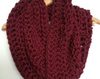 Maroon Crocheted Chunky Infinity Scarf Cowl