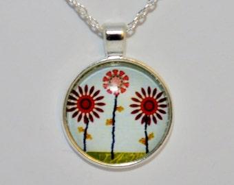 flower Necklace, flower Pendant, flower jewelry