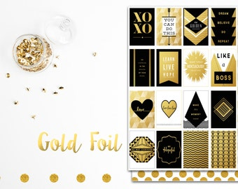 Gold Foil & Black Printable Planner Stickers / Journalling Cards / Paper craft supplies | Erin Condren | Mambi Happy Planner