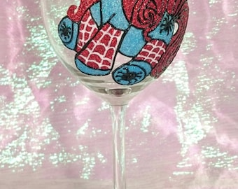 Hand Decorated & Rhinestone Glitter Glass - Spiderman (My Little Pony)