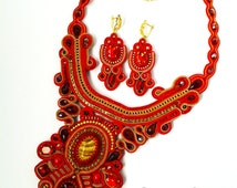 Soutache set red, dark red, gold colors.  Soutache Necklace and Earrings.