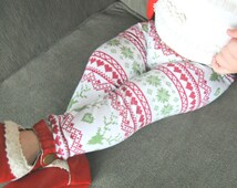 Christmas Fairisle Leggings, Soft & Stretchy Knit, Red + Green, Deer, Hearts, Reindeer, Newborn, Infant, Baby, Girl, Boys, Sweater, Holiday
