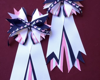 Navy & Pink Stripe Equestrian Hair Bow/Show Bow Set