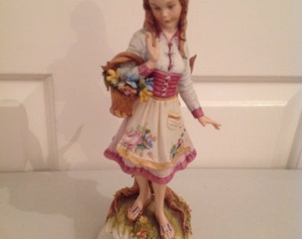 Reduced! - Capo di Monte Porcelain Figurine - Peasant Girl