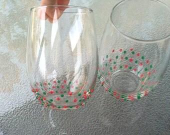 Christmas Stemless Wine Glasses (Pair)