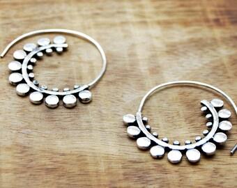 Gypsy Earrings, Spiral Earrings, Tribal Earrings, Spiral Hoop Earrings, Silver Earrings, Silver Hoops, Boho Earrings, Belly Dance Earrings