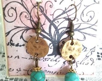 Turquoise green earrings, golden bronze earrings, turquoise green dangles
