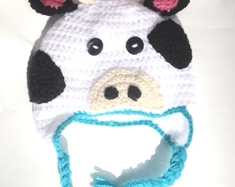 Cow Earflap Crochet Hat With or W/O Bow-FREE SHIPPING!-Multiple Sizes Available