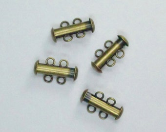 Slide clasp, 2 strand, 16mm, antique BRASS plate, 4 clasps, CLSP03ABP