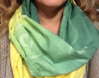 Green and Gold Batik Infinity Scarf