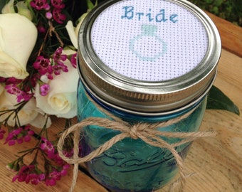 Bride Mason Jar, Gift for Bride, Mason Jar Decor, Wedding Gift, Bridal Shower Gift, Cross Stitch Art, Mason Jar Lid