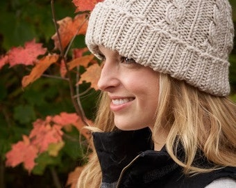 hand knit cabled beanie in linen, winter hat with pom pom