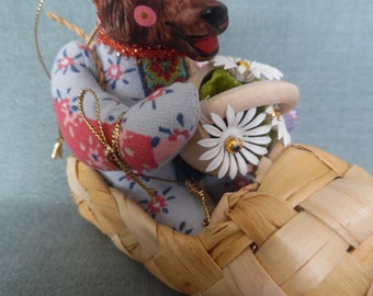 Hand made bear doll with hand painted porcelain face. Named Bear in shoe boat. Decoration children bedroom. Home decoration.