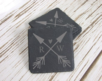 Arrows & Heart w/ Initials Slate Coaster Set of 4, Laser Engraved, Custom Coasters, Personalized Coasters, Wedding, Bridal Shower, Gift