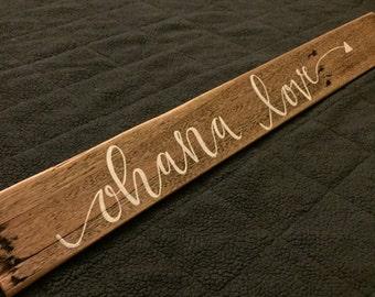 Ohana Love Hand painted Wood Plank