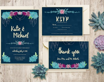 Printable Wedding Invitation Suite / Custom Wedding Invites / DIY Wedding Invitation Kit / Digital Download Invitation / Succulent Wedding
