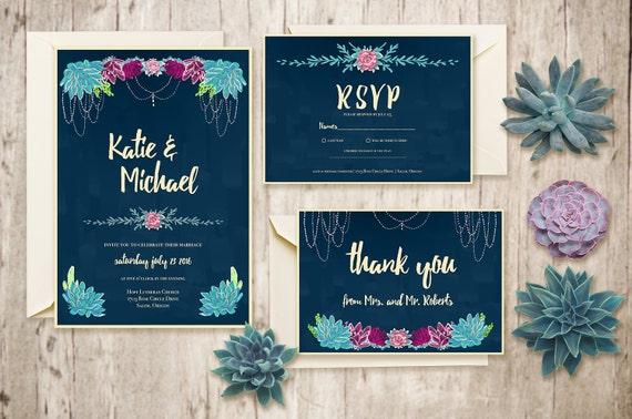 Buy Wedding Invitation Kits: Printable Wedding Invitation Suite / Custom Wedding Invites