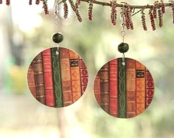 Book earrings, Decoupage books, Miniature book earrings, gift for reader, gift for librarian, gift for teacher, Library earrings