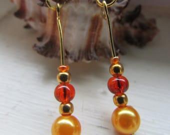 Orange earrings , Beaded drop earrings ,Orange and gold earrings ,  Drop earrings,Gold plated earrings, Hooked earrings ,Dangle earrings