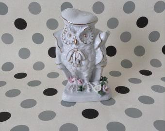 Professeur Owl~Wise Owl~Vintage~Figurine~China