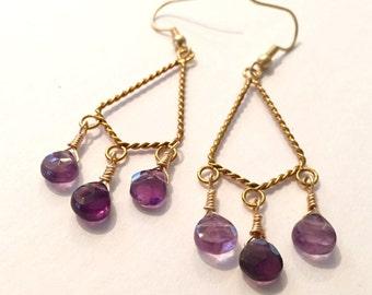 Amethyst and Gold Chandelier Earrings