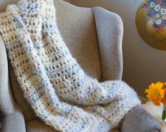 Chunky Crochet Blanket Throw / Chunky Blanket / Chunky Throw Blanket / Crochet Blanket /Super Soft Blanket / Blanket/ Tan / Cream / Blue
