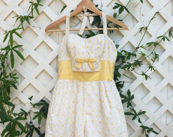 Vintage 1950's Gabar Cotton Playsuit || Vintage Bathing Suit || Floral Yellow and White Playsuit