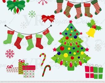 Merry Christmas Clip Art, Christmas Tree Clip Art, Christmas Stockings Clip Art, Instant Digital Download Clip Art, Vector Clip Art