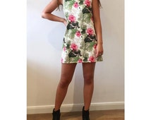pink and white lily floral sleeveless shift dress glamorous bold patterned neoprene look evening or party designer dress handmade UK 10 US 6