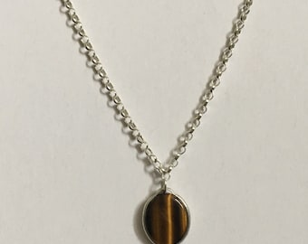 Flat Oval Tiger's-eye silver necklace