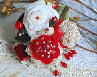 READY TO SHIP Bridal hairpin Ivory Headband HairAccessory Red Tie Skirt Christmas Hair Clip Hair Piece Floral barrette Floral bouquet Floral