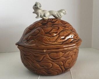 Vintage Squirrel Walnut Candy Dish