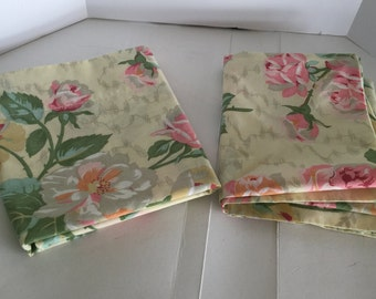 Set of two rose-print pillowcases! Big cabbage roses. Free shipping!