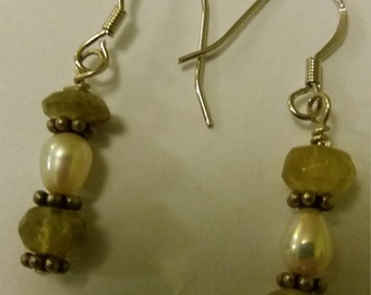 Handmade Sterling Silver Prehnite Asymmetrical Dangle Earrings Drop Earrings