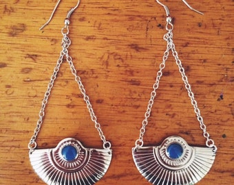 Silver Dramatic Drop Fan Earrings -