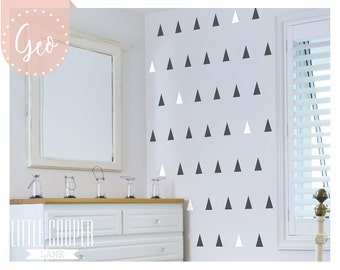 Geometric Triangles | 2 Colours | Modern Wall Decal Vinyl Sticker for Boys or Girls Sets of 70_For Nursery, Kids OR Teens Room_ID#1399
