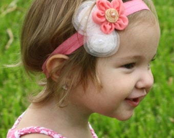 Flower Hair Clip, Flower Headband, Pink, Girl Headband, Baby Girl, Pink Flower Bow, Baby Headband, Baby Girl, Girl Bow, Baby Bow, Flower Bow